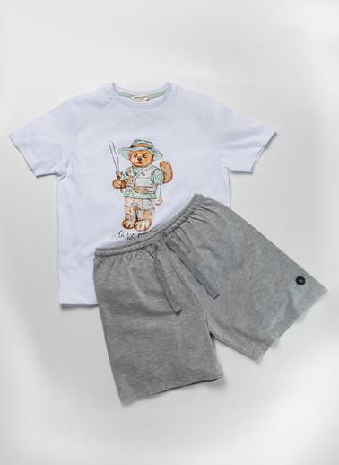 Katia & Bony Teddy Bear Erkek Çocuk Şort Takım  Beyaz